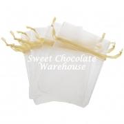 White/Gold organza bag